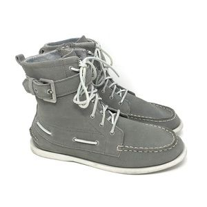 Sperry Starpoint Gray Leather Lace Boots 5.5